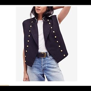 NWT! $248 Free People Navy Military Vest